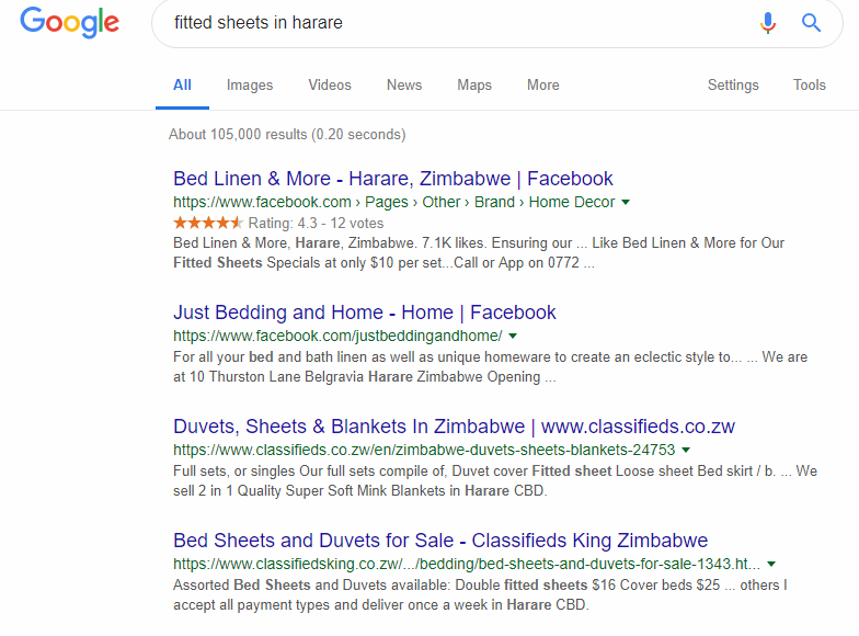be visible online as a ZImbabwean entrepreneur and be found by customers searching for goods and services online