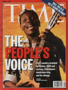 Oliver Mtukudzi on the cover of the Time Magazine March 2003