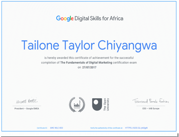 Taylor Chiyangwa Digital Marketer qualification